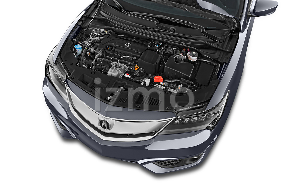 Car stock 2016-2017 Acura ilx Tech Plus and A Spec Package 4 Door Sedan engine high angle detail view