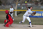 Western Nevada College's Meghan Hospodka gets Colorado Northwestern Community College's Hailee Mecham out at Edmonds Sports Complex in Carson City,Nev., on Friday, Feb. 21, 2014. Western swept the doubleheader 10-2 and 7-2.<br /> Photo by Cathleen Allison/Nevada Photo Source