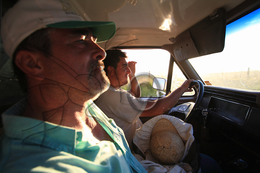 Coming back from the migration, Aldao and his son in their old pick-up cross the fields of sunflower and soy stretching as far as the eye can see.