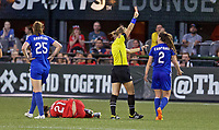 Portland, OR - Saturday May 27, 2017: Allysha Chapman receives a red card during a regular season National Women's Soccer League (NWSL) match between the Portland Thorns FC and the Boston Breakers at Providence Park.