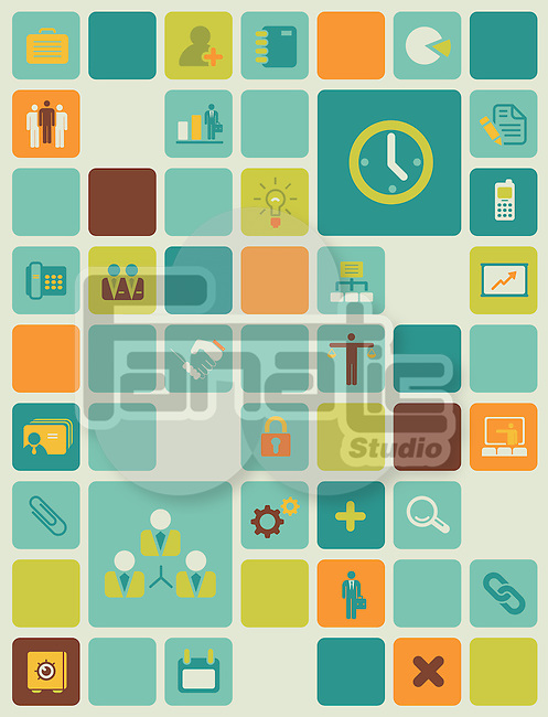 Illustration of management icons over colored background