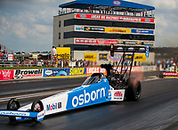 Jul 18, 2020; Clermont, Indiana, USA; NHRA top fuel driver Doug Kalitta during qualifying for the Summernationals at Lucas Oil Raceway. Mandatory Credit: Mark J. Rebilas-USA TODAY Sports