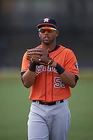 Houston Astros Alejandro Garcia (56) warms up before an instructional league game against the Atlanta Braves on October 1, 2015 at the Osceola County Complex in Kissimmee, Florida.  (Mike Janes/Four Seam Images)
