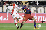 Rayo Vallecano's Jose Angel Crespo (l) and FC Barcelona's Luis Suarez during La Liga match. March 3,2016. (ALTERPHOTOS/Acero)