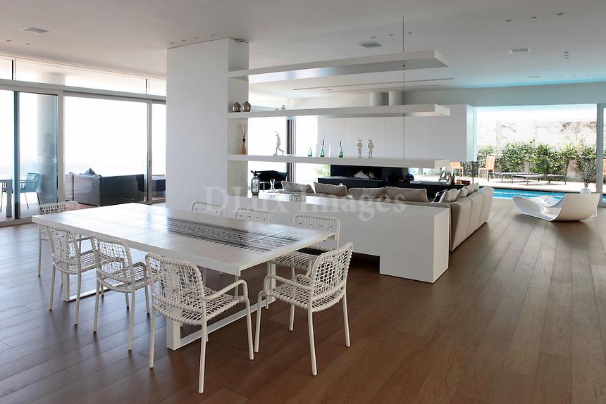 open plan white living room