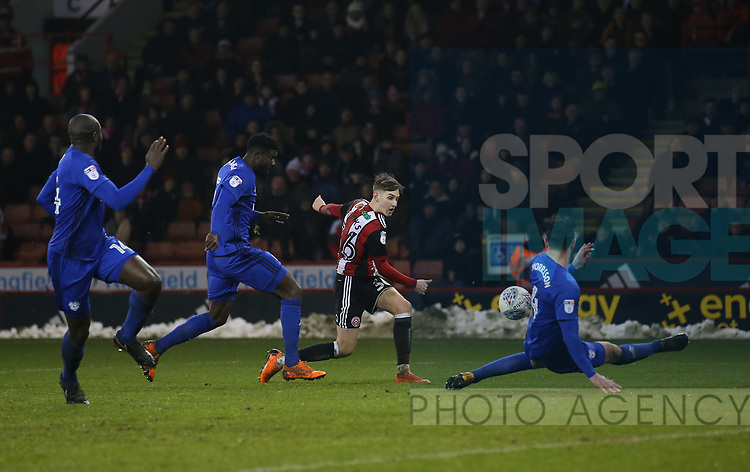David Brooks of Sheffield Utd has a shot blocked during the Championship match at Bramall Lane Stadium, Sheffield. Picture date 02nd April, 2018. Picture credit should read: Simon Bellis/Sportimage