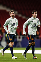 18th November 2019; Wanda Metropolitano Stadium, Madrid, Spain; European Championships 2020 Qualifier, Spain versus Romania;  Saul Niguez (ESP)  Pre-match warm-up Alvaro Morata (Spanish) - Editorial Use