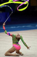 Sep 29, 2000; SYDNEY, AUSTRALIA:<br /> Valeria Vatkina of Belarus performs with ribbon during rhythmic gymnastics qualifying at 2000 Summer Olympics.