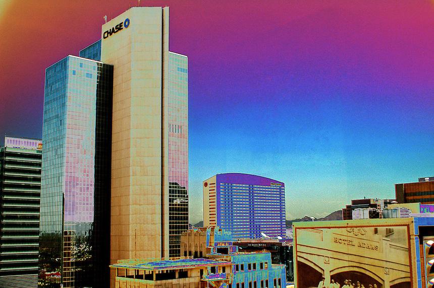 AJ Alexander/AJAimages - Downtown Phoenix, Arizona.Chase Bank.Photo by AJ Alexander