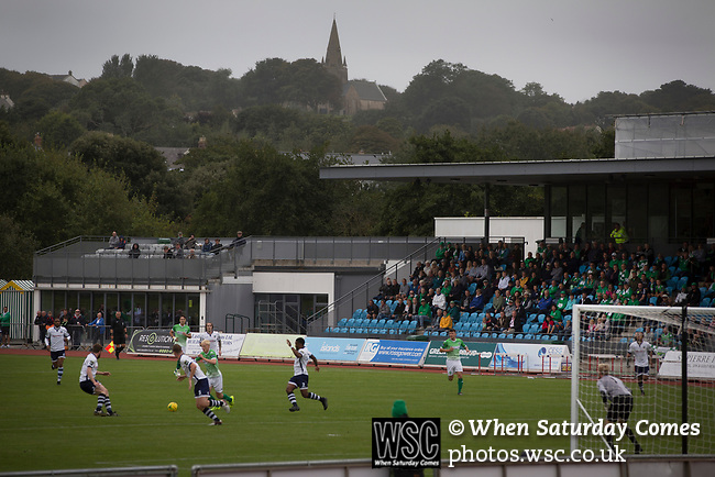 Guernsey 0 Corinthian-Casuals 1, 10/09/2017. Footes Lane, Isthmian League Division One. First-half action as Guernsey (in green) take on Corinthian-Casuals in a Isthmian League Division One South match at Footes Lane. Formed in 2011, Guernsey FC are a community club located in St. Peter Port on the island of Guernsey and were promoted to the Isthmian League Division One South in 2013. The visitors from Kingston upon Thames won the fixture by 1-0, watched by a crowd of 614 spectators. Photo by Colin McPherson.