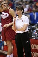 SAN ANTONIO, TX - APRIL 4:  Tara VanDerveer at practice on April 4, 2010 at the Alamo Dome in San Antonio, Texas.
