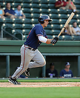 Outfielder Chase Anselment (32) of the Rome Braves, an Atlanta Braves affiliate, in a game against the Greenville Drive on July 6, 2012, at Fluor Field at the West End in Greenville, South Carolina. Anselment was a 17th-round pick of the Atlanta Braves in the 2012 First-Year Player Draft out of the University of Washington. Greenville won, 4-0. (Tom Priddy/Four Seam Images)