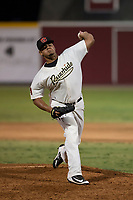 Visalia Rawhide relief pitcher Junior Garcia (29) delivers a pitch to the plate during a California League game against the Stockton Ports at Visalia Recreation Ballpark on May 8, 2018 in Visalia, California. Stockton defeated Visalia 6-2. (Zachary Lucy/Four Seam Images)
