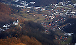 (Tuzla, Bosnia, 02/06/02) A hilltop church is seen from an aerial view as members of the Massachusetts Army National Guard maintain order in the aftermath of ethnic cleansing and prevent a resumption of violence that ravaged the former Yugoslav state by provide security for displaced residents returning to rebuild their shattered homes in Northern Bosnia on Wednesday, February 06, 2002. Staff photo by Christopher Evans