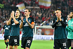 04.11.2018, Opel-Arena, Mainz, GER, 1 FBL, 1. FSV Mainz 05 vs SV Werder Bremen, <br /> <br /> DFL REGULATIONS PROHIBIT ANY USE OF PHOTOGRAPHS AS IMAGE SEQUENCES AND/OR QUASI-VIDEO.<br />  <br /> im Bild: Niklas Moisander (SV Werder Bremen #18), Max Kruse (SV Werder Bremen #10), Maximilian Eggestein (#35, SV Werder Bremen)<br /> <br /> Foto © nordphoto / Fabisch