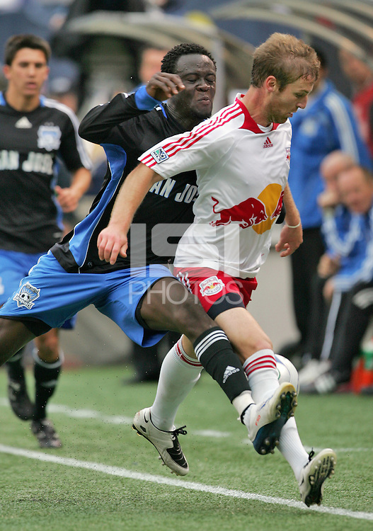 New York Red Bulls' Jeff Parke, front, holds off San Jose Earthquakes' Kei Kamara, back, in the second half of an MLS soccer match at Giants Stadium in East Rutherford, N.J. on Sunday, April 27, 2008. The Red Bulls defeated the Earthquakes 2-0.