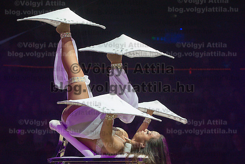 Foot juggler Kimberly Lester of Portugal performs in the new show titled Balance in Circus Budapest in Budapest, Hungary on October 04, 2015. ATTILA VOLGYI