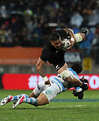 9th September 2017, Yarrow Stadium, New Plymouth. New Zealand; Supersport Rugby Championship, New Zealand versus Argentina; New Zealands Vaea Fifita crashes over a tackle