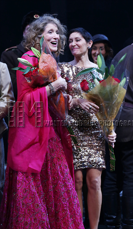 Lucy Simon and Amy Powers during the Broadway Opening Night Performance Curtain Call for 'Doctor Zhivago' at The Broadway Theatre on April 21, 2015 in New York City.