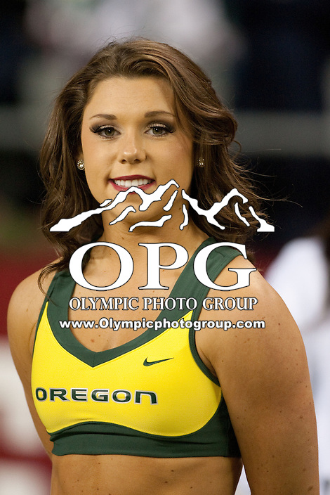 Sep  30, 2012:  Oregon cheer members entertained the crowed before the game against Washington State.  Oregon defeated Washington State 51-26 at Century Link Stadium in Seattle, Washington...