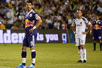 New York Red Bulls forward Juan Pablo Angel prepare for a PK as  midfielder of the LA Galaxy Landon Donovan looks on. New York Red Bulls midfielder Rafael Marquez looks on. LA The New York Red Bulls beat the LA Galaxy 2-0 at Home Depot Center stadium in Carson, California on Friday September 24, 2010.
