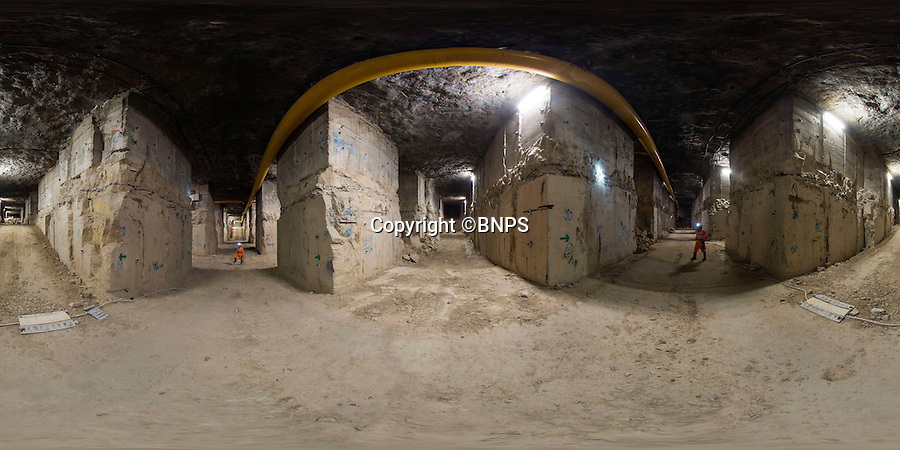 BNPS.co.uk (01202 558833)<br /> Pic: PhilYeomans/BNPS<br /> <br /> 360 Pano.<br /> <br /> The 10 metre high galleries dwarf the miners.<br /> <br /> Looks familiar - Albion Stone's subterranean Jordans Mine on the Isle of Portland is the home of the famous rock that built London.<br /> <br /> This huge nine acre site deep under the Isle of Portland in Dorset is home to the famous Portland limestone used in St Pauls Cathedral, Buckingham Palace, the Cenotaph, and even the UN building in New York.<br /> <br /> In fact most of the iconic buildings in London are covered by this Jurassic rock and Albion Stone have recently switched their extraction process from quarrying to mining in an effort to significantly reduces the impact on the environment.