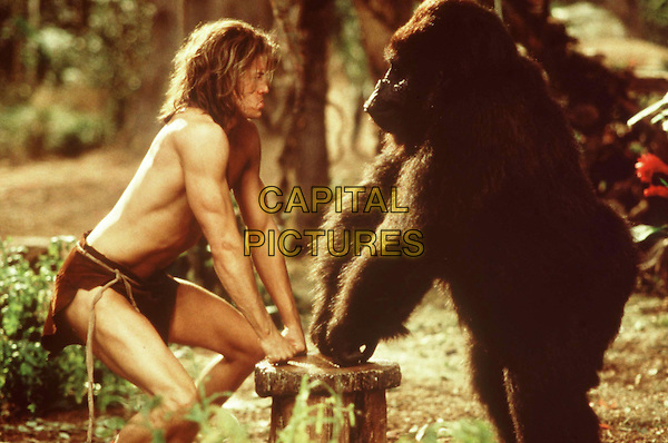 George of the Jungle (1997) <br /> Brendan Fraser &amp; Ape (voice of John Cleese)<br /> *Filmstill - Editorial Use Only*<br /> CAP/KFS<br /> Image supplied by Capital Pictures