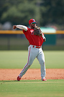 GCL Phillies East shortstop Brayan Gonzalez (6) throws to first base during a Gulf Coast League game against the GCL Yankees East on July 31, 2019 at Yankees Minor League Complex in Tampa, Florida.  GCL Yankees East defeated the GCL Phillies East 11-0 in the first game of a doubleheader.  (Mike Janes/Four Seam Images)