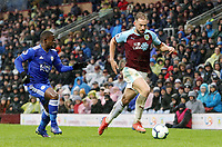 Burnley's Charlie Taylor under pressure from Leicester City's Nampalys Mendy<br /> <br /> Photographer Rich Linley/CameraSport<br /> <br /> The Premier League - Burnley v Leicester City - Saturday 16th March 2019 - Turf Moor - Burnley<br /> <br /> World Copyright © 2019 CameraSport. All rights reserved. 43 Linden Ave. Countesthorpe. Leicester. England. LE8 5PG - Tel: +44 (0) 116 277 4147 - admin@camerasport.com - www.camerasport.com