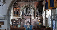 BNPS.co.uk (01202 558833)<br /> Pic: PhilYeomans/BNPS<br /> <br /> The Lady Chapel of St Thomas Becket parish church has also been restored.<br /> <br /> Doom finally has its day! - A 500 year old 'Day of Judgement' painting, that has survived Henry VIII th, the Puritans and even Victorian prudery has been restored to its former glory.<br /> <br /> Thought to be the largest medieval 'Doom' painting in the country, the striking image been painstakingly restored after a tumultuous 500 year history on the chancel arch of St Thomas Becket church in Salisbury.<br /> <br /> Originally painted in the 15th century, the chancel was white-washed during the Reformation before being uncovered nearly 300 years later in the early 19th century. <br /> <br /> Prudish Victorian's shocked by the naked images then recovered it before it finally re-emerged in 1881 as opinions relaxed. <br /> <br /> Experts have spent three months conserving the faded painting, which included injecting lime slurry behind areas of paint to affix them again to the wall. and delicately 'touching up' in places before finishing it with varnish to bring out its colour.<br /> <br /> Most pre 16th century churches and cathedrals in Britain would have been plastered with religious images and iconography to encourage their often illiterate congregation to good behaviour.<br /> <br /> But during Henry VIII th Protestant Reformation churches were stripped of all graven imagery and the paintings were either whitewashed over or completely destroyed.<br /> <br /> Because of this very few works still survive today making the Salisbury fresco a truly remarkable survivor.<br /> <br /> The restoration is part of a larger set of works at the historic church which are due to cost £1.5million.