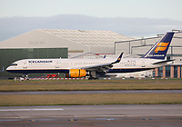 An Icelandair Boeing 757-208 Registration TF-FIV named Katla at Manchester Airport on 11.2.19 arriving from Keflavik International Airport, Iceland.