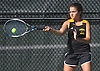 Andrianna Kaimis of Commack returns a shot during the Suffolk County girls tennis Division I doubles consolation final against Half Hollow Hills East at Half Hollow Hills West High School on Tuesday, Oct. 11, 2016.