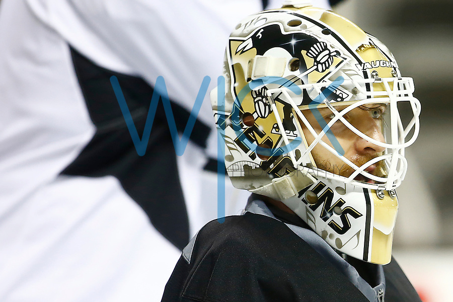 Matt Murray #30 of the Pittsburgh Penguins looks on in goal during practice at the SAP Center in San Jose, California on June 5, 2016. (Photo by Jared Wickerham / DKPS)