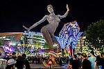 "MGM Resorts International on Monday celebrated the opening of its Park dining and entertainment district,  The Park on the Strip is open to the public with the lighting of the Burning Man Statue of ""The Woman"""