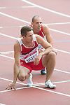Men's 400m hurdles round 1 heat 1, Wales' Dai Greene and England's Richard Yates at the end of the race<br /> <br /> Photographer Chris Vaughan/Sportingwales<br /> <br /> 20th Commonwealth Games - Day 7 - Wednesday 30th July 2014 - Athletics - Hampden - Glasgow - UK