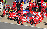 Nov. 1, 2009; Talladega, AL, USA; NASCAR Sprint Cup Series driver Juan Pablo Montoya pits during the Amp Energy 500 at the Talladega Superspeedway. Mandatory Credit: Mark J. Rebilas-