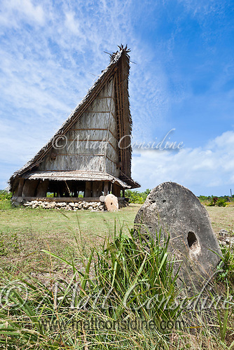 Ceremonial House and Stone Money, Yap Micronesia (Photo by Matt Considine - Images of Asia Collection) (Matt Considine)