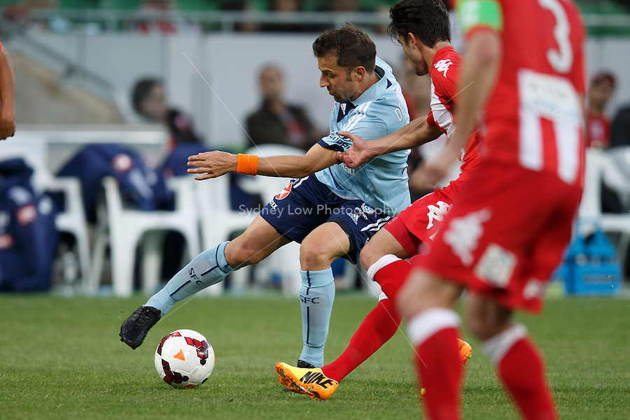 Italian player Alessandro DEL PIERO of Sydney controls the ball in the round six match between Melbourne Heart and Sydney FC in the Australian Hyundai A-League 2013-24 season at AAMI Park, Melbourne, Australia.<br /> This image is not for sale. Please visit zumapress.com for image licensing.