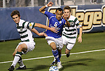 09 December 2011: Creighton's Dion Acoff (6) between UNCC's Thomas Allen (5) and Owen Darby (7). The Creighton University Bluejays played the University of North Carolina Charlotte 49ers to a 0-0 tie at Regions Park in Hoover, Alabama in an NCAA Division I Men's Soccer College Cup semifinal game. UNC-Charlotte advanced to the final on penalty kicks, 4-1.