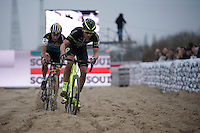 Sven Nys (BEL/Crelan-AAdrinks) battling it out with Tom Meeusen (BEL/Telenet-Fidea) for 2nd place<br /> <br /> Jaarmarktcross Niel 2015  Elite Men &amp; U23 race