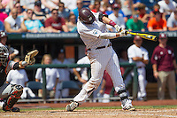 Mississippi State first baseman Wes Rea (35) swings the bat during Game 11 of the 2013 Men's College World Series against the Oregon State Beavers on June 21, 2013 at TD Ameritrade Park in Omaha, Nebraska. The Bulldogs defeated the Beavers 4-1, to reach the CWS Final and eliminating Oregon State from the tournament. (Andrew Woolley/Four Seam Images)