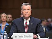 "Thomas E. Brandon, Deputy Director, Head of the Bureau of Alcohol, Tobacco, Firearms and Explosives (ATF), testifies before the United States Senate Committee on the Judiciary during ""an oversight hearing to examine the Parkland shooting and legislative proposals to improve school safety"" on Capitol Hill in Washington, DC on Wednesday, March 14, 2018.<br /> Credit: Ron Sachs / CNP"