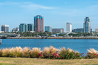Long Beach, CA, City, Cityscape, Skyline, Architectural, Office Buildings, Daytime, Rainbow Harbor, <br />  Southern California, USA,