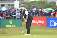 Shane Lowry (IRL) putts on the 18th green during Saturday's Round 3 of the Dubai Duty Free Irish Open 2019, held at Lahinch Golf Club, Lahinch, Ireland. 6th July 2019.<br /> Picture: Eoin Clarke | Golffile<br /> <br /> <br /> All photos usage must carry mandatory copyright credit (© Golffile | Eoin Clarke)