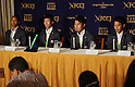 August 29, 2016, Tokyo, Japan - Japanese 4 x 100m relay team members (L-R) Aska Cambridge, Yoshihide Kiryu, Shota Iizuka and Ryota Yamagata hold a press conference in Tokyo on Monday, August 29, 2016. Japanese relay team won the first silver medal at the Rio de Janeiro Olympic Games.    (Photo by Yoshio Tsunoda/AFLO) LWX -ytd-