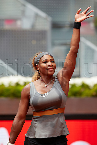 07.05.2014 Madrid, Spain. Serena Williams of USA salutes the crowd after his victory over Shuai Peng of China on day 4 of the Madrid Open from La Caja Magica.