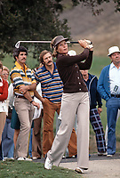 Sally Little in action at the Carlton, a golf tournament on the LPGA Tour played at the Calabasas Country Club, Calabasas, California, September 1976. Photo by John G. Zimmerman.