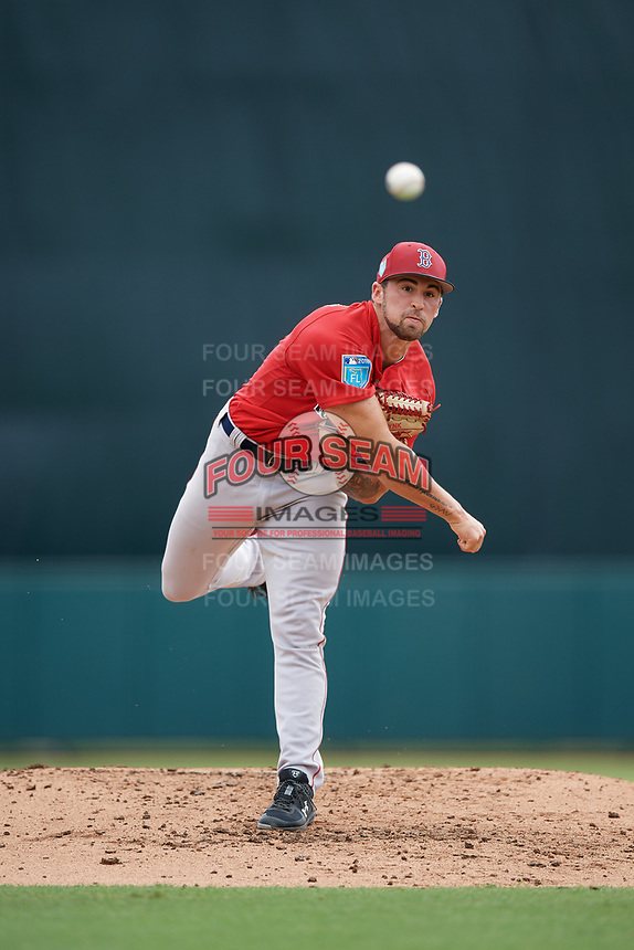 Boston Red Sox pitcher Alex Scherff (54) delivers a pitch during a Florida Instructional League game against the Baltimore Orioles on October 8, 2018 at the Ed Smith Stadium in Sarasota, Florida.  (Mike Janes/Four Seam Images)