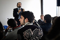 The judge Lello Magi of the Court in Santa Maria Capua Vetere, province of Caserta, for seven years in the Assizes for the criminal trial, named Spartacus, against the boss Francesco Schiavone alias Sandokan, meets the students attending a high school in S.Cipriano d'Aversa. In his speech, he talked about the hard work done to defeat one of the most bloody camorristic clan.