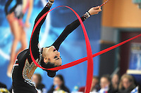Zeynab Javadli of Azerbaijan performs with ribbon at 2011 Holon Grand Prix at Holon, Israel on March 5, 2011.  (Photo by Tom Theobald)